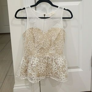Cream & White Floral Lace Peplum Top